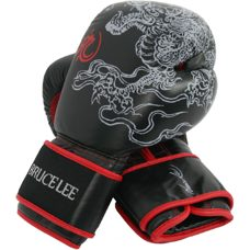 Bruce Lee Deluxe Boxing Gloves Boxhandschuhe Schwarz mit Rot 16 OZ