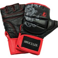 Bruce Lee MMA Martial Arts Boxhandschuhe Deluxe Schwarz mit Rot XL