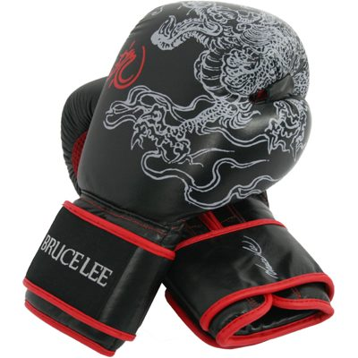 Bruce Lee Deluxe Boxing Gloves Boxhandschuhe Schwarz mit Rot 12 OZ